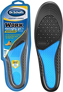 Dr. Scholl's WORK Massaging Gel Advanced Insoles (Men's 8-14) // All-Day Shock Absorption and Cushioning for Hard Surfaces...