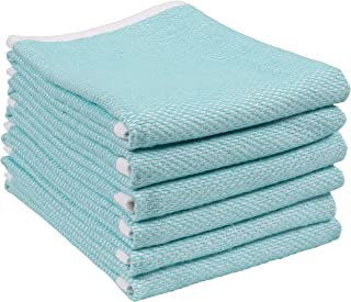 Reversible Terry Web Kitchen Towels | Set of 6 18 x 28 Inch Absorbent, Durable, Beautiful, and Luxuriously Soft Kitchen Towels | Perfect for Kitchen Spills, Cleaning, and Drying Your Hands - Aqua