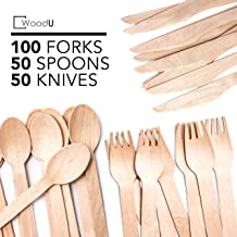 Disposable Wooden Cutlery Set WoodU Utensils All-Natural, Eco-Friendly, Biodegradable, and Compostable Taking Steps for a Greener Tomorrow! (200 pack-100 forks, 50 spoons, 50 knives)