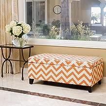 Christopher Knight Home Brenway Pattern Fabric Storage Ottoman (Orange on White)