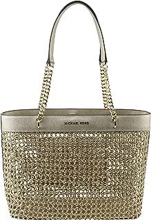 MICHAEL Michael Kors Women's Kinsley Rattan Carryall Tote Bag in Pale Gold, Style 35T9GYKT3M.