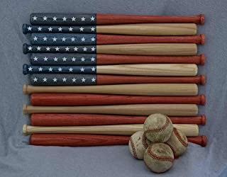 American flag made out of 18 inch baseball bats. Rustic/aged/vintage