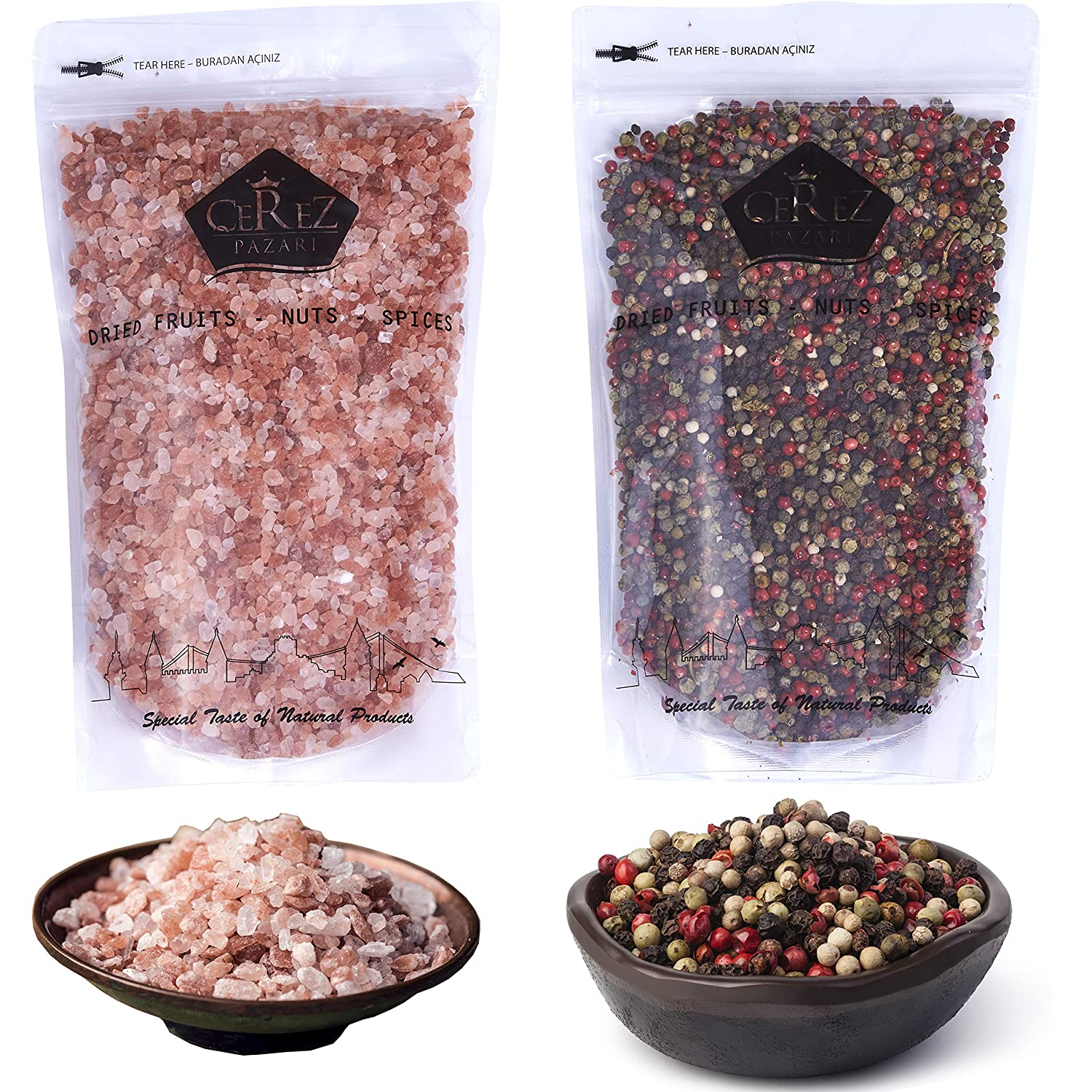 Cerez Pazari Rainbow Peppercorn Blend 12 oz and Himalayan Pink Salt (Coarse Grain) 2.2 lbs, Whole Black, Pink, Green, White Color Pepper For Grinders Refills