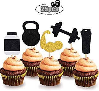 Glitter Gym Theme Cupcake Topper Exercise Theme Party Cake Decorations Supplies