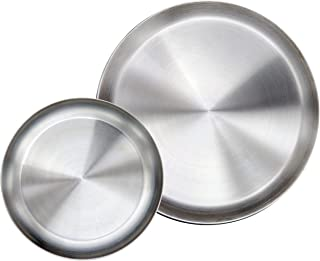 Immokaz Matte Polished 10.0 inch 304 Stainless Steel Round Plates Dish Set, for Dinner Plate, Camping Outdoor Plate, Baby safe, Toddler, Kids, BPA Free, Pack of 2 (L (10.0