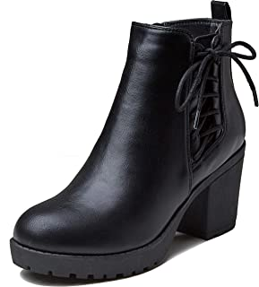 Women's Chelsea Bootie Triangle V Elastic Panel Slip On Round Toe Buckle Strap Chunky Heel Ankle Boots