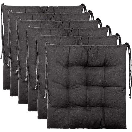 Brandsseller Ensemble de 6 Coussins de Chaise de Jardin/Coussin de siège de Jardin en Polyester - Couleur Anthracite
