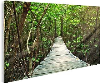 islandburner Cuadro en Lienzo Puente Colgante en el Bosque Cuadros Modernos Decoracion Impresión Salon