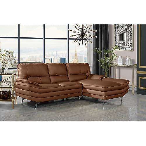 Roma Leather Sofa: Camel Leather Sofa: Amazon.com