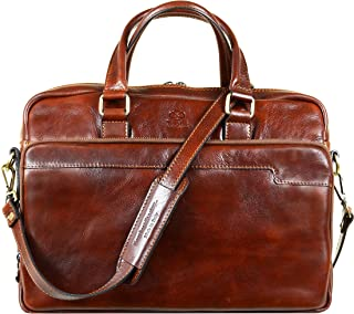 Leather Laptop Bag Full Grain Office Briefcase Unisex Brown - Time Resistance