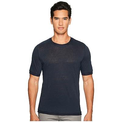 Vince Linen Short Sleeve Crew Neck Trimmed Sweater (Coastal) Men
