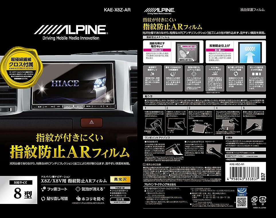 藤色神秘微弱アルパイン(ALPINE) X8Zカーナビ用 指紋防止ARフィルム KAE-X8Z-AR