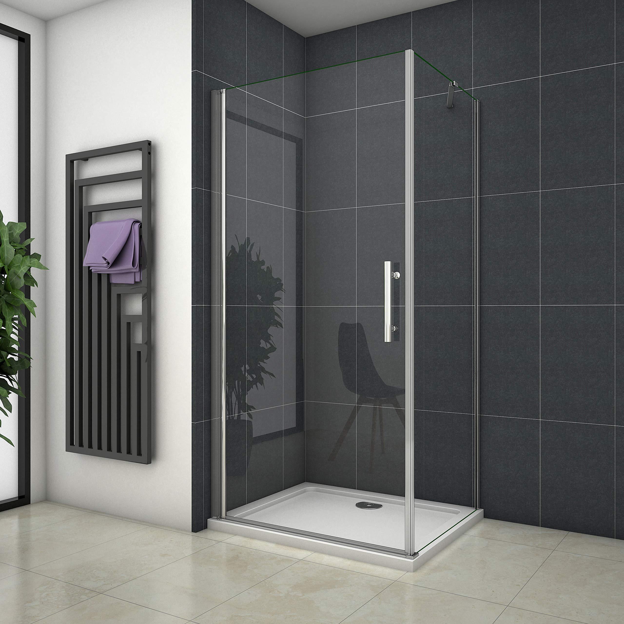 Mampara de ducha esquinera con puerta giratoria: Amazon.es ...