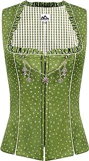 Almbock Trachten Mieder Damen - Trachtenmieder aus Baumwolle in blau, rot, grün, grau und in den Größen 34-44 - Trachten Corsage im Landhaus Stil