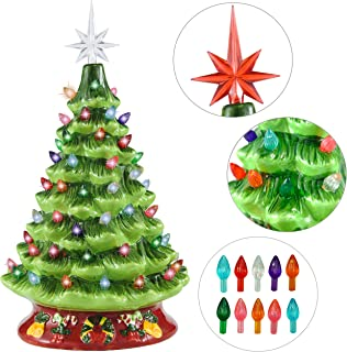 """Joiedomi 15"""" Ceramic Christmas Tree with Red Base, Prelit Xmas Tree with Extra Red Star Topper for Home and Office Tabletop Decoration"""