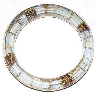 YATHABI Opalite Gemstone Orgone Bangle Bracelet with 4 Copper Spring for Women Jewelry Chakra Balancing Reiki Healing Ener...