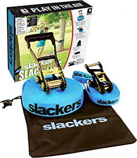 Slackers 50' Outdoor Slackline Classic Outdoor Climbing Play, Blue, 600 Inches