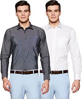 Amazon Brand - Symbol Men's Solid Regular Fit Formal Shirt (Combo Pack of 2)