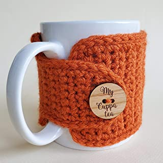 Fall Mug Cozy with My Cuppa Tea Button