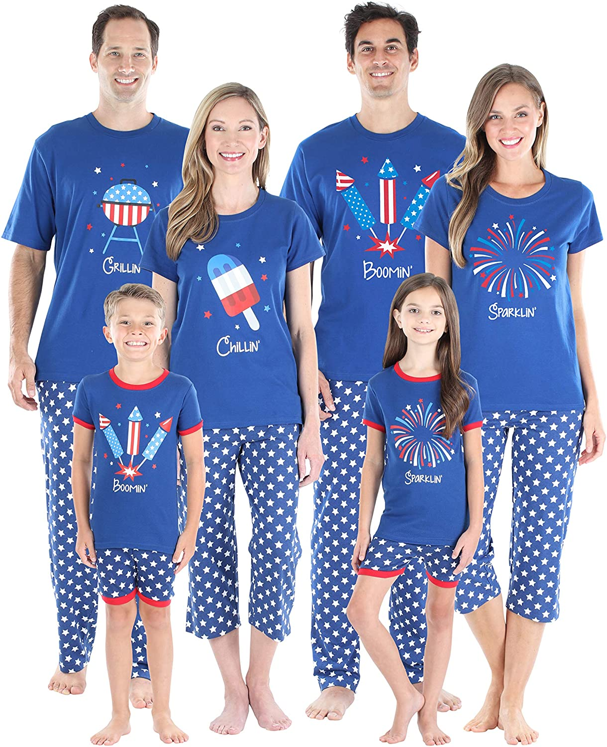SleepytimePjs Family Matching Cotton Selling and selling Red White Sale item Blue Pajama and