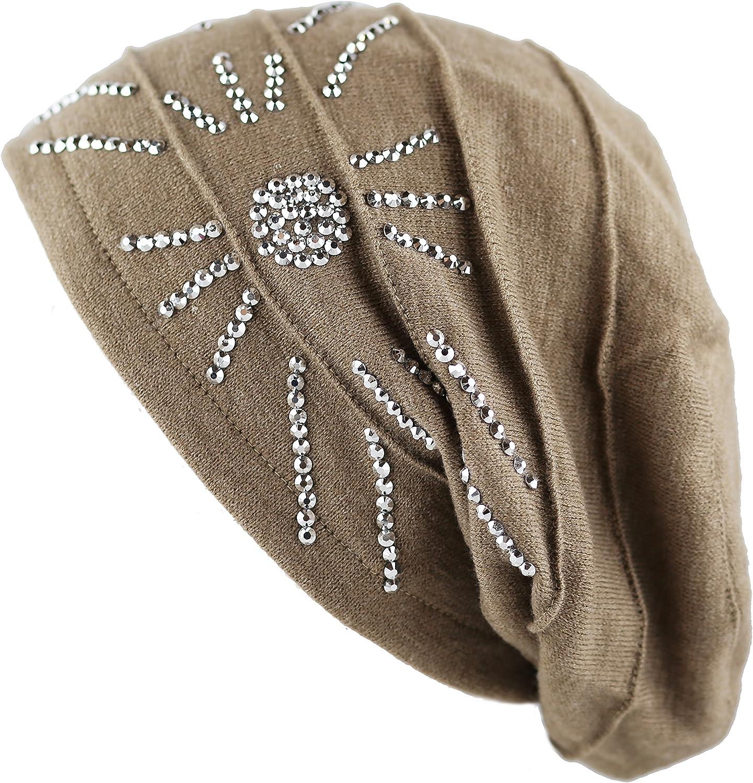 The Hat Depot Women's Handmade Warm Baggy Fleece Lined Slouch Beanie Hat