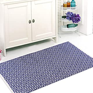 """The Home Talk 100% Cotton Diamond Contemporary Area Rug Door Mat Super Hand-Woven Geometric Throw Rugs Fully Reversible Machine Washable, (24""""x48"""", Blue)"""