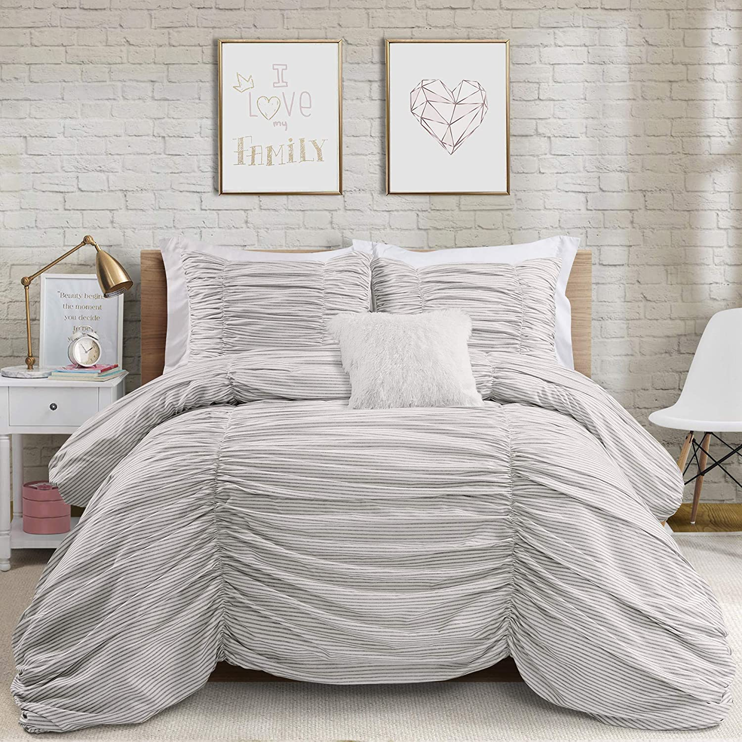 Lush Decor Gray Max 68% OFF Ruching Ticking Stripe Comforter F 3 Piece Limited time cheap sale Set