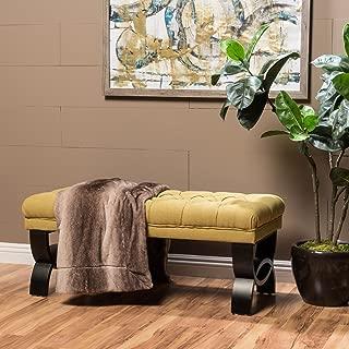 "Christopher Knight Home 299599 Living Reddington Light Green Tufted Fabric Ottoman Bench, 17.25""D x 41.00""W x 16.75""H"