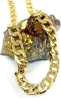 قلادة ذهبية على شكل سلسلة مربوطة 14 مم مع طلاء ذهبي حقيقي أكثر من 22 مرة من قلائد المجوهرات الأنيقة للرجال والنساء ضمان اس...