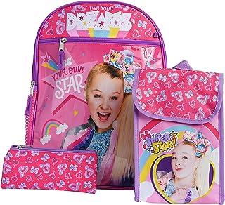 "JoJo Siwa 16"" Backpack Lunch Bag Pencil Case 3-Piece Set (Stars Bows Print)"