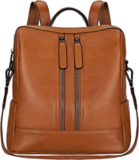 S-ZONE Women Genuine Leather Backpack Casual Shoulder Bag Purse Medium