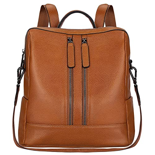07c9cd95a7c9 S-ZONE Women Genuine Leather Backpack Casual Shoulder Bag Purse Medium