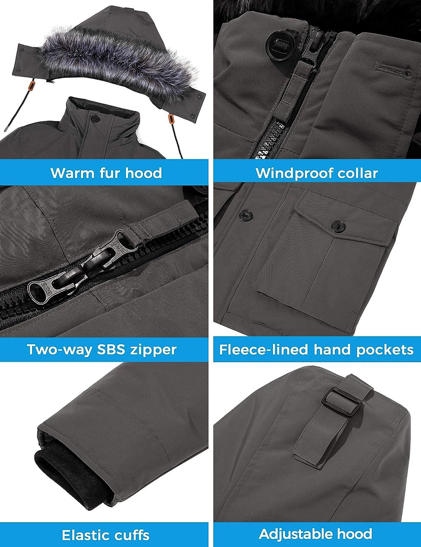 CHIN·MOON Men's Warm Puffer Jacket Thicken Winter Parka Coat Waterproof Cotton Overcoat