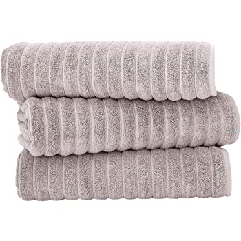 Classic Turkish Towels Luxury Ribbed Bath Sheets - Soft Thick Jacquard Woven 3 Piece Bath Set Made with 100% Turkish Cotton (40X65 Bath Sheets, Almond Beige)