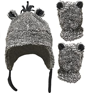 N'Ice Caps Little Boys and Baby Sherpa Lined Fleece Hat Mitten Set with Ears