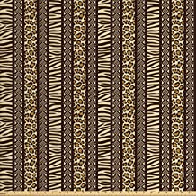 Lunarable Striped Fabric by The Yard, Safari Animal Skin Pattern Zebra and Tiger Design Borders, Decorative Fabric for Upholstery and Home Accents, 1 Yard, Yellow Brown
