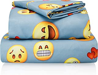 Chital Twin Bed Sheets for Boys | 3 Pc Colorful Kids Bedding Set | Light Blue Emoji Print | Durable Super-Soft, Double-Brushed Microfiber | 1 Flat & 1 Fitted Sheet, 1 Pillow Case | 15