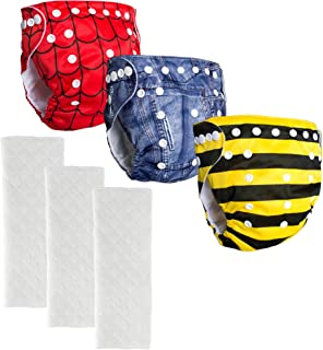 BIG ELEPHANT Baby Graphic Reusable Cloth Pocket Diapers with Microfiber Inserts
