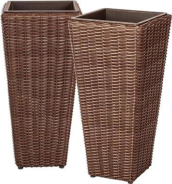 Patio Sense Alto Wicker Planter (2 Piece) Set with Liners   Tall Plant Decor Box for Outdoors