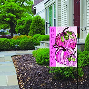 PotteLove Breast Cancer Awareness Pumpkin Garden Flag, Double Sided Yard Decoration, Front Door Home Decor, Yard or Party Decor 12 x 18 Inch