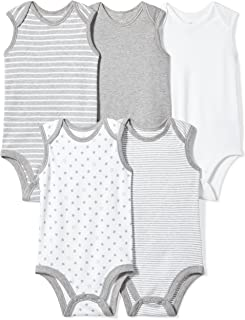 Moon and Back Baby Set of 5 Organic Sleeveless Bodysuits