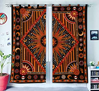 Burning Sun Hippie Gypsy Home Decor Window Treatments & Valance Bedroom Decor Living Room Decor Handmade Wall Hanging Boho Door Cotton Bohemian Mandala Tapestry Curtain Balcony Sheer Room Divider