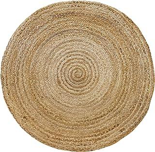 HAMID Jute Teppich - Alhambra Rund Teppich 100% Naturfaser de Jute 100x100cm