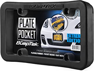 Plate Pocket by BumpTek (Extreme Edition) - The Thickest, Toughest, All Rubber Front Bumper Guard, Front Bumper Protection, License Plate Frame. Flexible Rubber Cushions Parking Bumps!