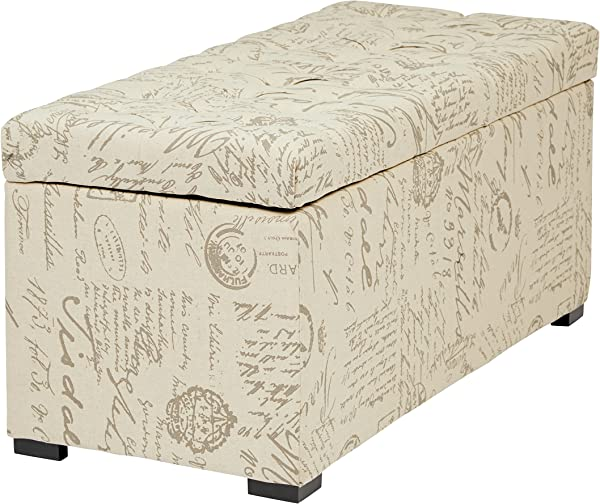 AVE SIX Sahara Tufted Storage Bench With Slam Proof Hinges Script Fabric