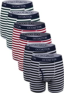 OCOATTON Men's Boxer Briefs Cotton Underwear with Fly 6-Pack
