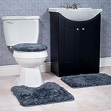 Lavish Home 3-Piece Super Plush Non-Slip Bath Mat Rug Set Platnium