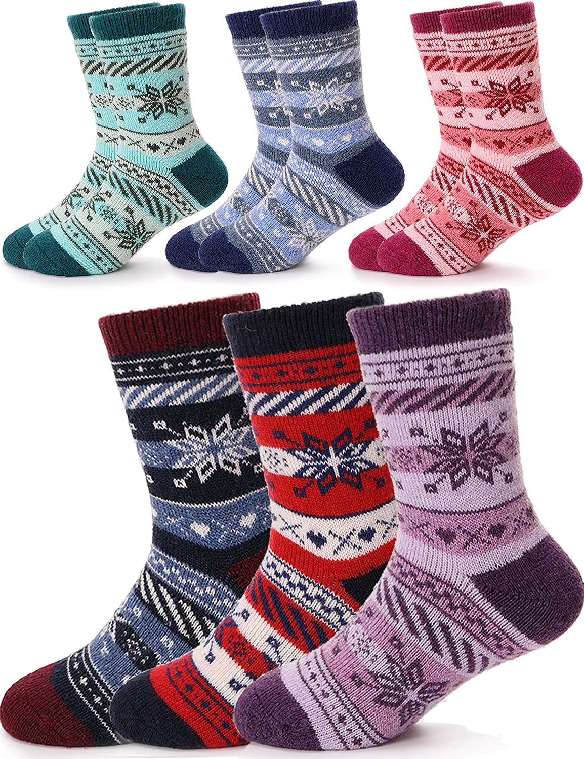 Sandsuced Kids Warm Wool Socks for Hiking Toddlers Boys Girls Winter Thick Heavy Thermal Cozy Gift Socks 6 Pairs