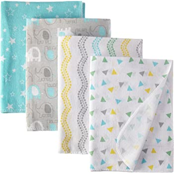 Luvable Friends Unisex Baby Cotton Flannel Receiving Blankets, Basic Elephant, One Size