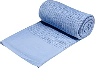 Elivo 100% Cotton Hospital Thermal Blankets - Open Weave Cotton Blankets - Breathable and Prevent Overheating - Soft, Comfortable and Warm - Hand and Machine Washable - 1 Pack Blue